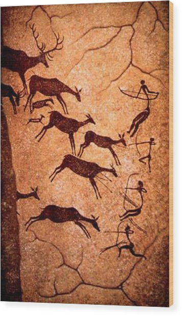 Lascaux Stag Hunting Wood Print