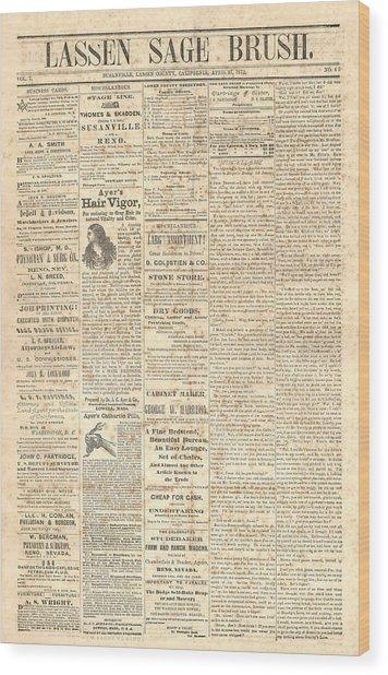 Lassen Sage Brush April 27th 1872 Wood Print