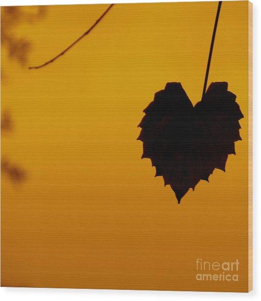 Last Leaf Silhouette Wood Print