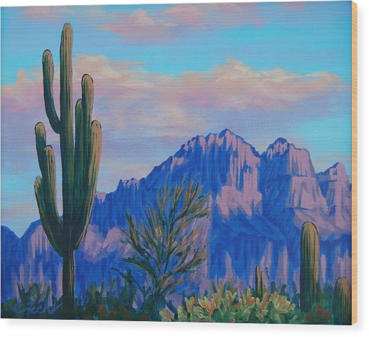 Last Light On The Superstitions Wood Print