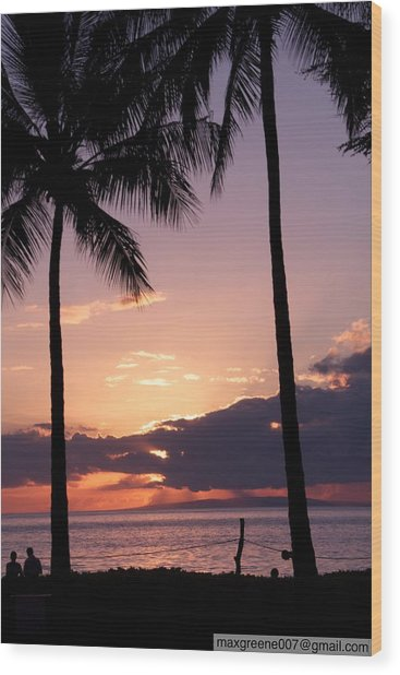 Last Of The Sun On Maui Wood Print