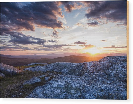 Last Rays. Sunset On Foss Mountain. Wood Print