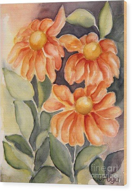 Late Autumn Flowers Wood Print