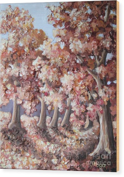 Late Autumn Maples Wood Print