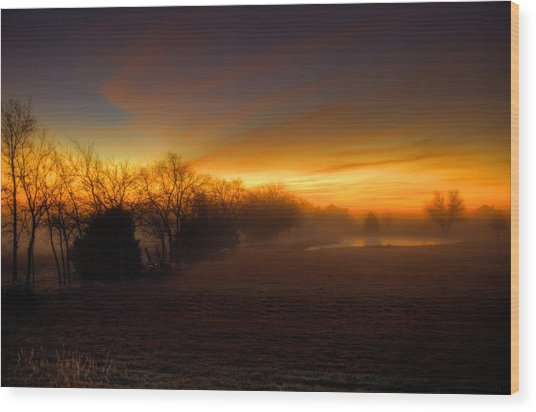 Late Autumn Sunrise Wood Print