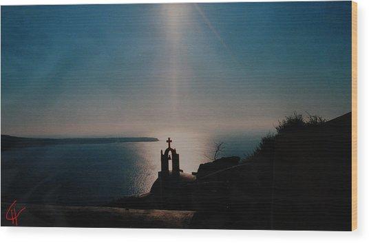 Late Evening Meditation On Santorini Island Greece Wood Print