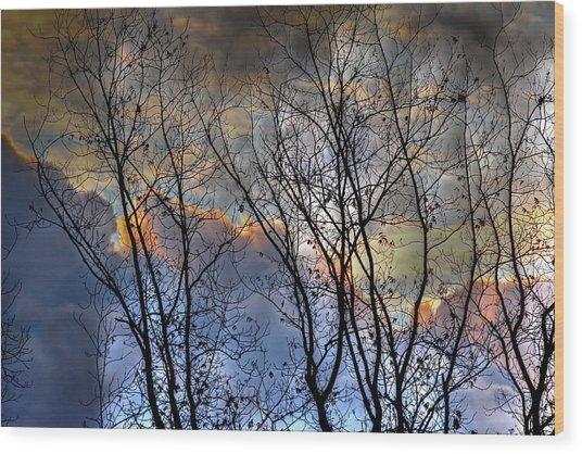 Late Fall Sunrise Wood Print