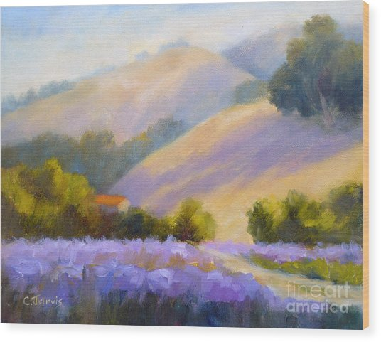 Late June Hills And Lavender Wood Print