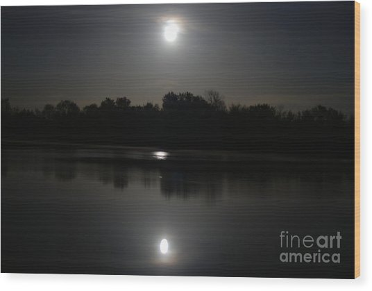 Late Night At The Lake Wood Print