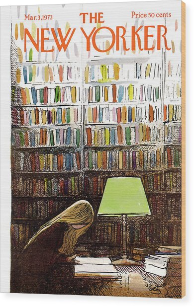 Late Night At The Library Wood Print