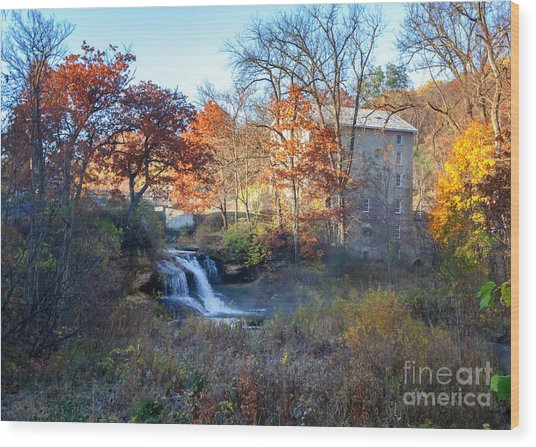Wood Print featuring the photograph Late October At Pickwick Mill by Kari Yearous