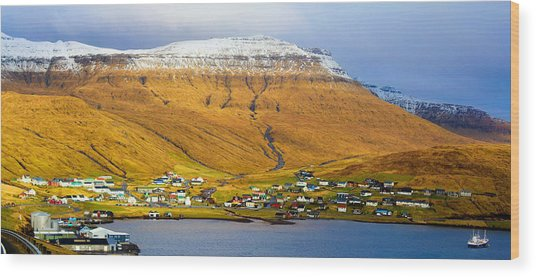 Late Spring In Faroe Islands Panorama Wood Print
