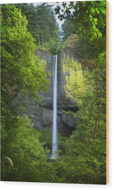 Wood Print featuring the photograph Latourell Falls by Jon Ares