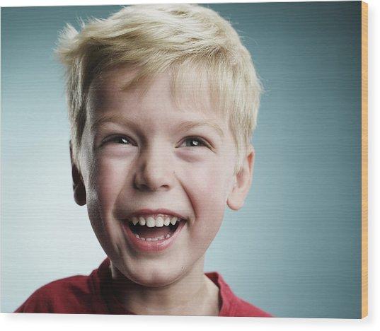 Laughing 4 Year Old Boy Wood Print by Ryan McVay