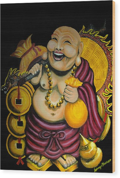Laughing Buddha For Prosperity Wood Print