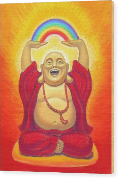 Laughing Rainbow Buddha Wood Print
