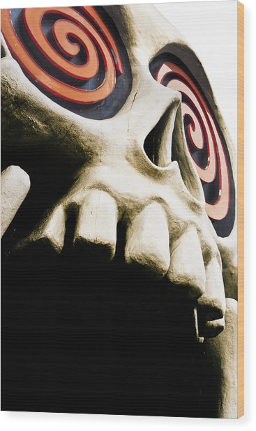 Wood Print featuring the photograph Laughing Skull - Little Five Points by Mark E Tisdale