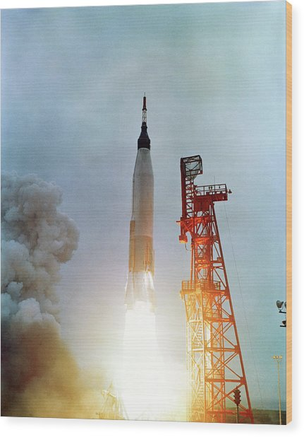Launch Of Mercury-atlas 7 Wood Print
