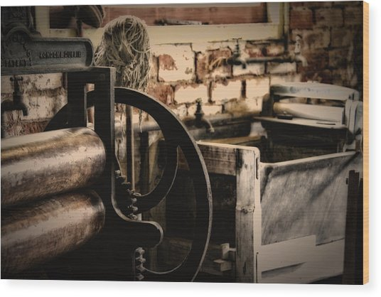 Laundry Wood Print by John Monteath