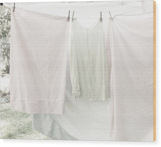 Laundry On The Line In Pink And Green Wood Print