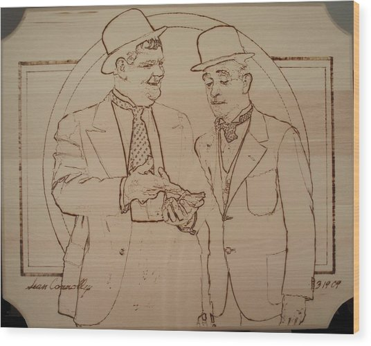Laurel And Hardy - Thicker Than Water Wood Print