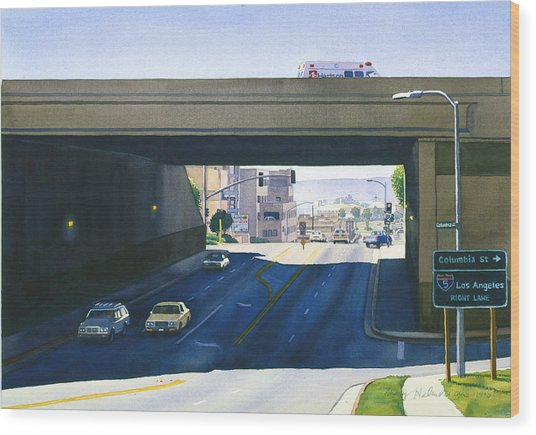 Laurel Street Bridge San Diego Wood Print by Mary Helmreich