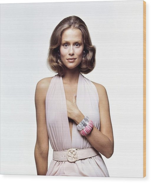 Lauren Hutton Wearing A Galanos Dress Wood Print by Bert Stern