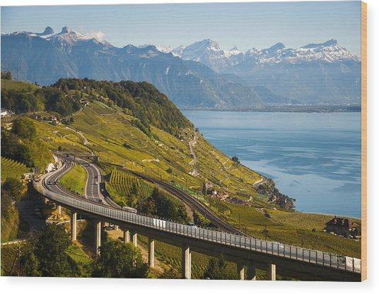 Lausanne To Montreux Wood Print