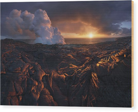 Lava Fields Wood Print