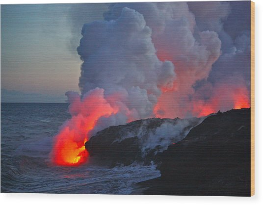Lava Flow At Sunset In Kalapana Wood Print