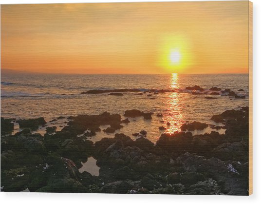 Lava Rock Beach Wood Print