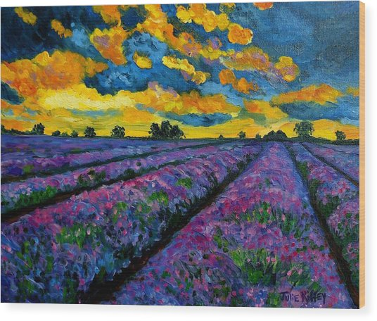 Lavender Fields At Dusk Wood Print