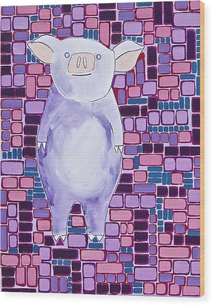Lavender Piglet Wood Print