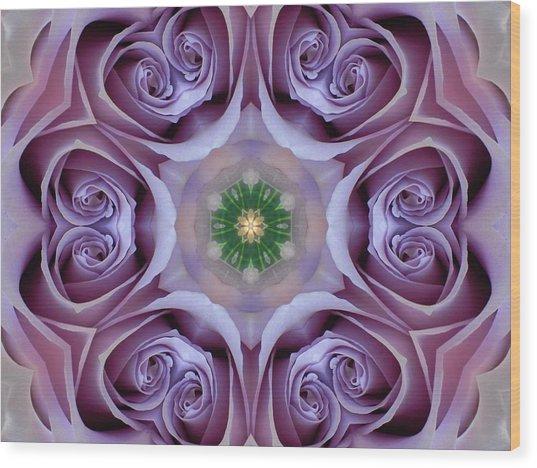 Lavender Rose Mandala Wood Print