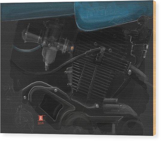 Laverda Engine Detail Wood Print