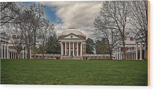 Lawn And Rotunda At University Of Virginia Wood Print