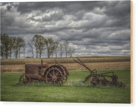 Lawn Tractor Wood Print
