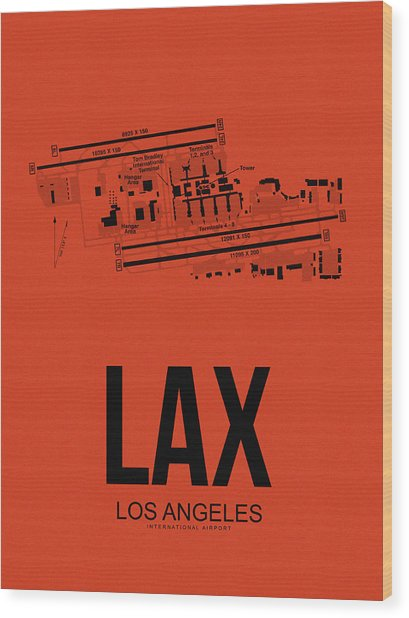 Lax Los Angeles Airport Poster 4 Wood Print