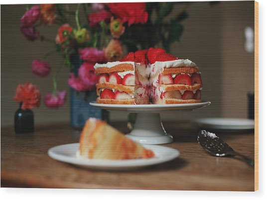Layered Strawberry Cake With Background Wood Print
