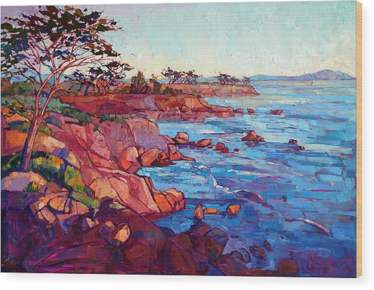 Layers Of Monterey Wood Print by Erin Hanson