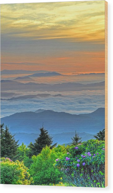 Layers Of Sunrise Wood Print by Mary Anne Baker