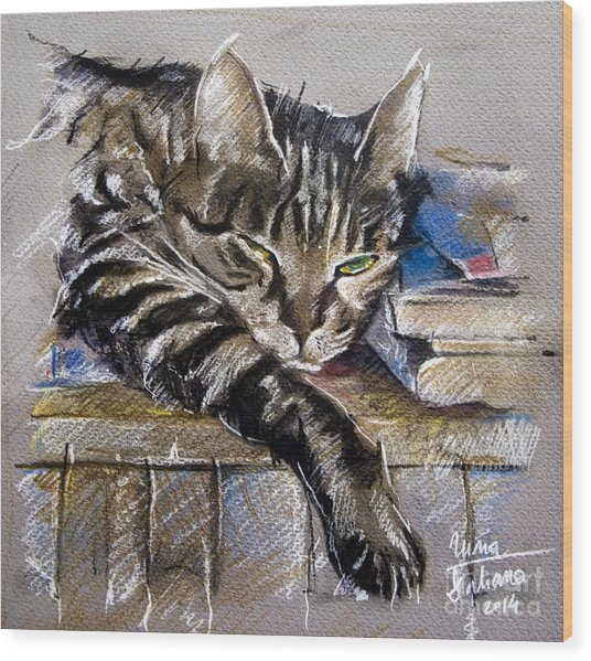 Lazy Cat Portrait - Drawing Wood Print