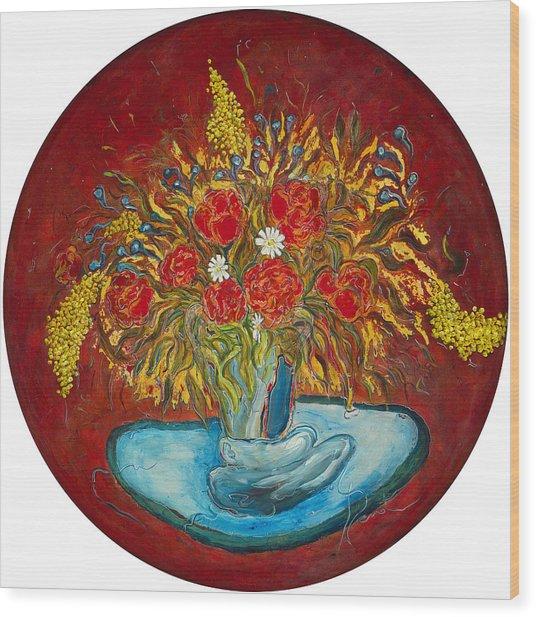 Le Bouquet Rouge - Original For Sale Wood Print by Bernard RENOT