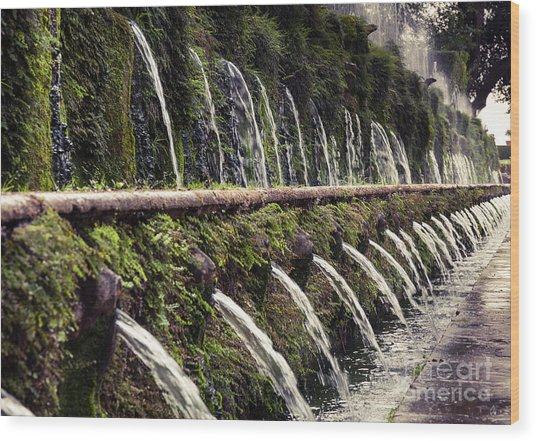 Le Cento Fontane The Hundred Fountains  At Villa D'este Gardenst Wood Print