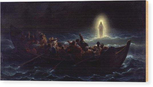 Le Christ Marchant Sur La Mer Wood Print