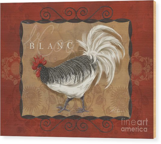 Le Coq Rooster Blanc Wood Print