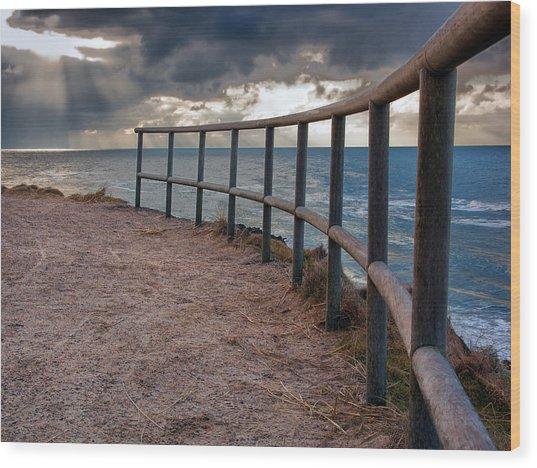 Rail By The Seaside Wood Print