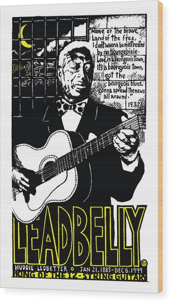 Leadbelly Wood Print by Ricardo Levins Morales