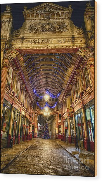 Leadenhall Christmas Lights Wood Print