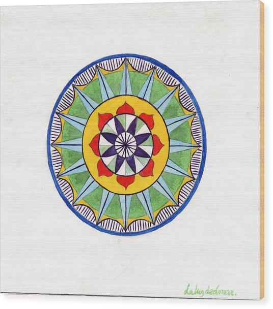 Leaf Mandala Wood Print by Silvia Justo Fernandez